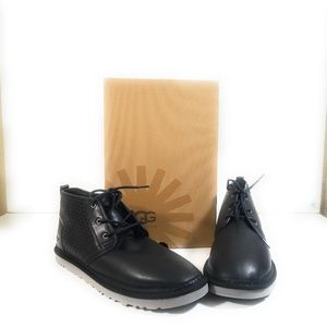 New Ugg 1016830 Men Black Leather Ankle Boot Sz 18